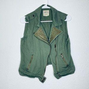 Dolled Up Studded Denim Rock Edgy Zip-Up Moto Vest